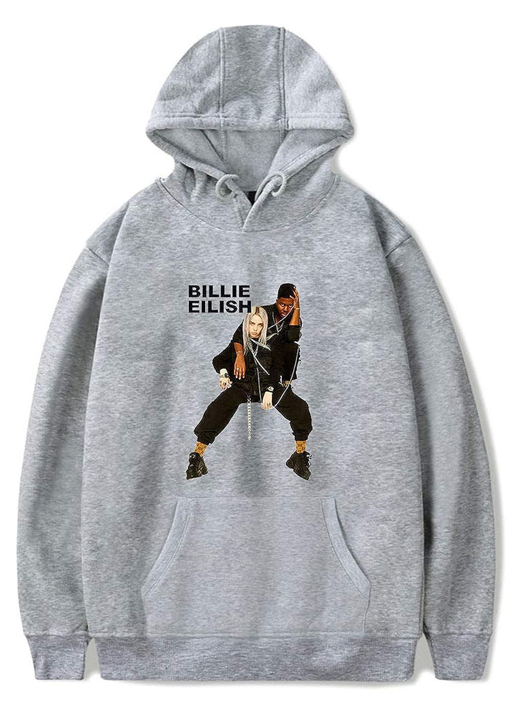 SIMYJOY Unisex Billie Eilish Fans Sudadera con Capucha Hip Pop Cool Pullover Instagram Sudadera 2019 Nuevo Streetwear para Hombres, Mujeres y Adolescentes: ...