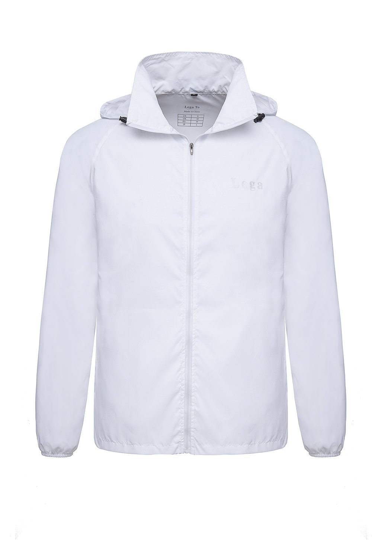Lega Men's Hooded Windbreaker Lightweight Packable Skin Coat UV Protect Outdoor Sport Jacket (White, M)