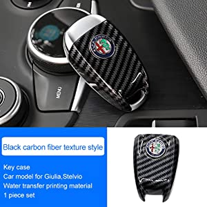 QHCP ABS Carbon Fiber Style 3D Logo Car Smart Remote Key Fob Cover Case Replace for Alfa Romeo Giulia Stelvio (Black Carbon Fiber)