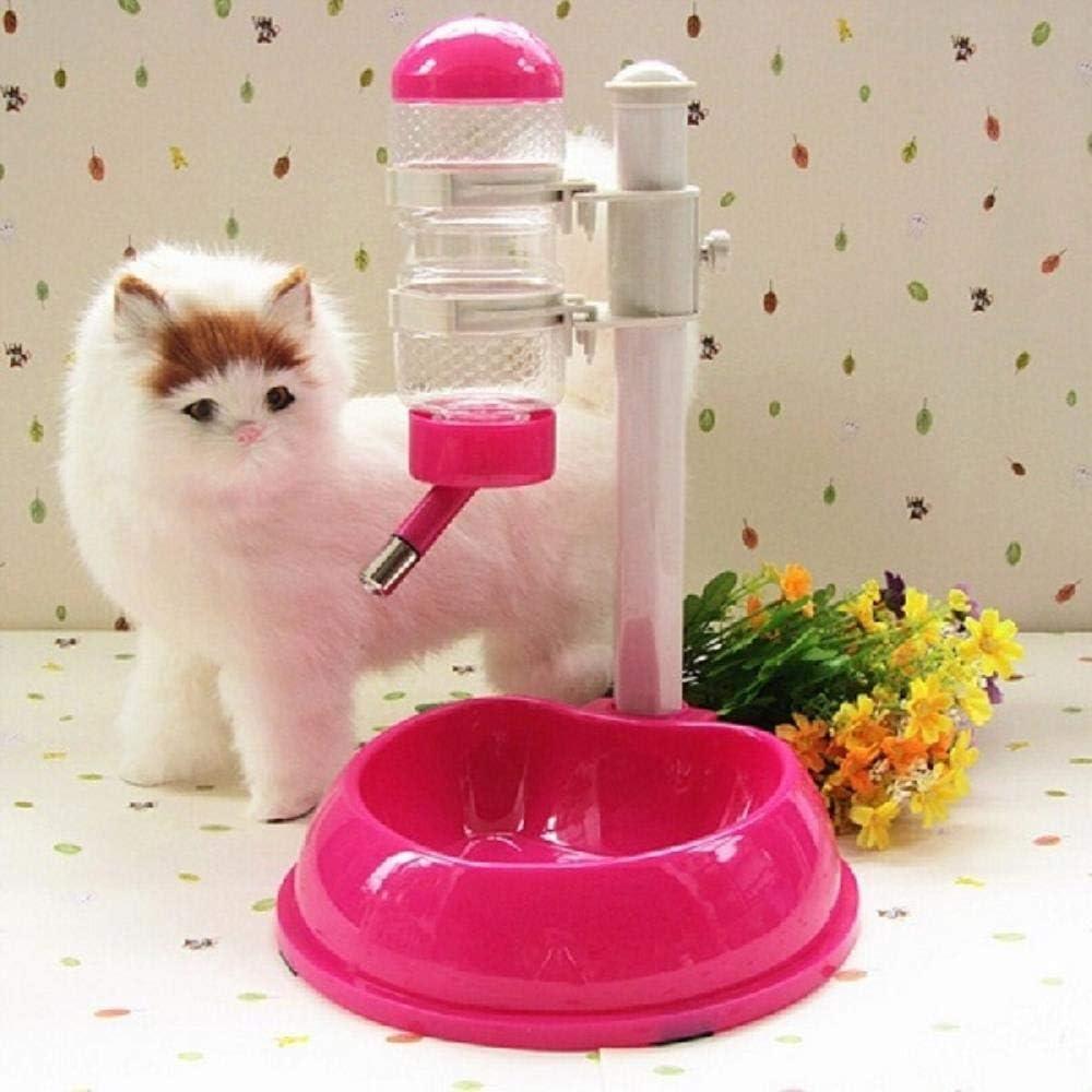 GPLSKQAZPDS Mascota Gato Perro Bebedero de Agua Dispensador Soporte de Comida Hamster Alimentador Plato Tazón Botella Plástico Fuente automática Bebedero, Rosa roja, M
