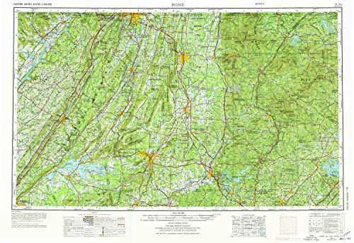 YellowMaps Rome GA topo map, 1:250000 Scale, 1 X 2 Degree, Historical, 1958, Updated 1974, 21.9 x 31.9 in - Tyvek (Ga Cohutta)