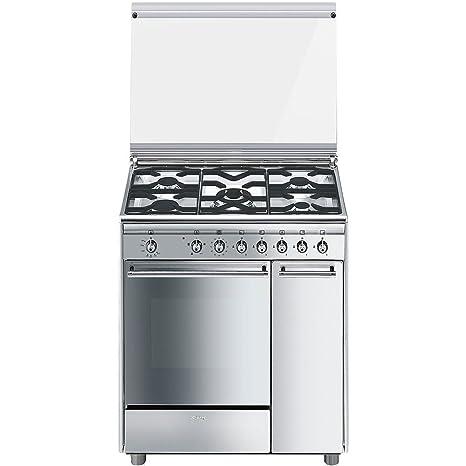 Smeg cocina a gas CX81GVET Serie Concierto 5 fuegos Horno a gas ...