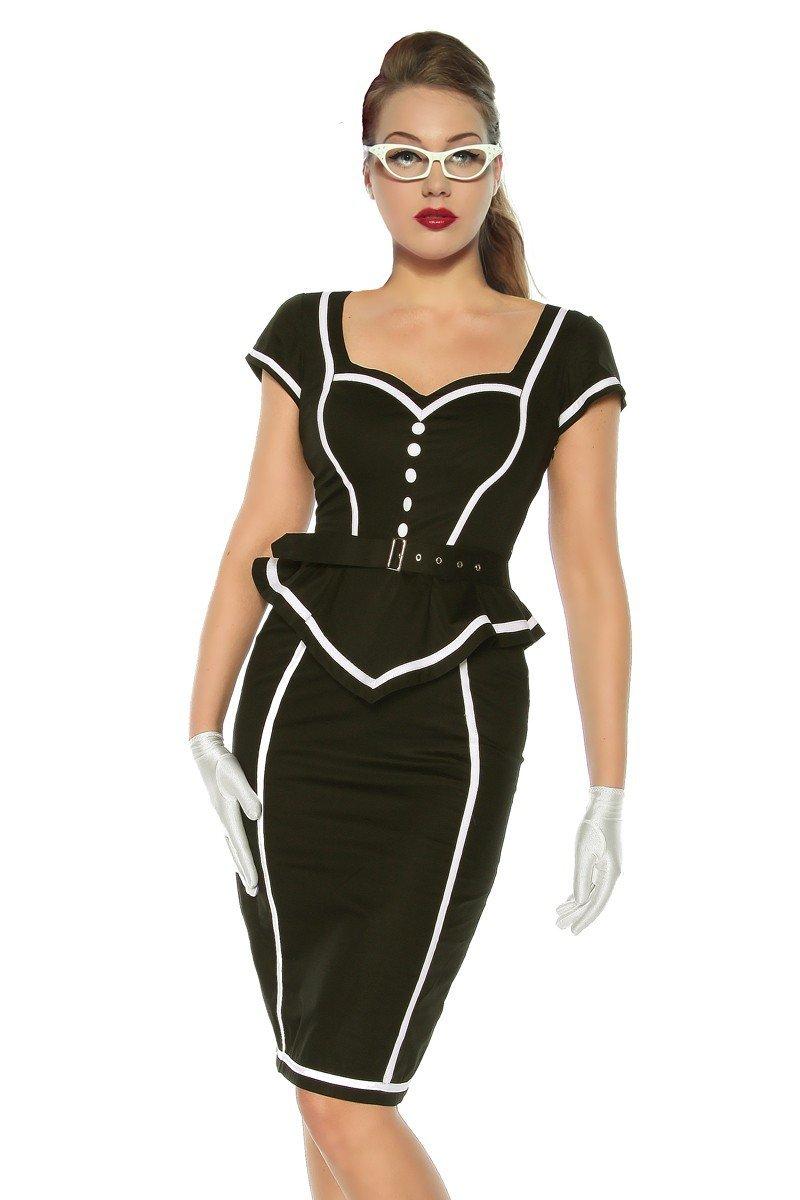 Chic star Pin-Up Vintage-Kleid Kleid, Gürtel schwarz/weiß
