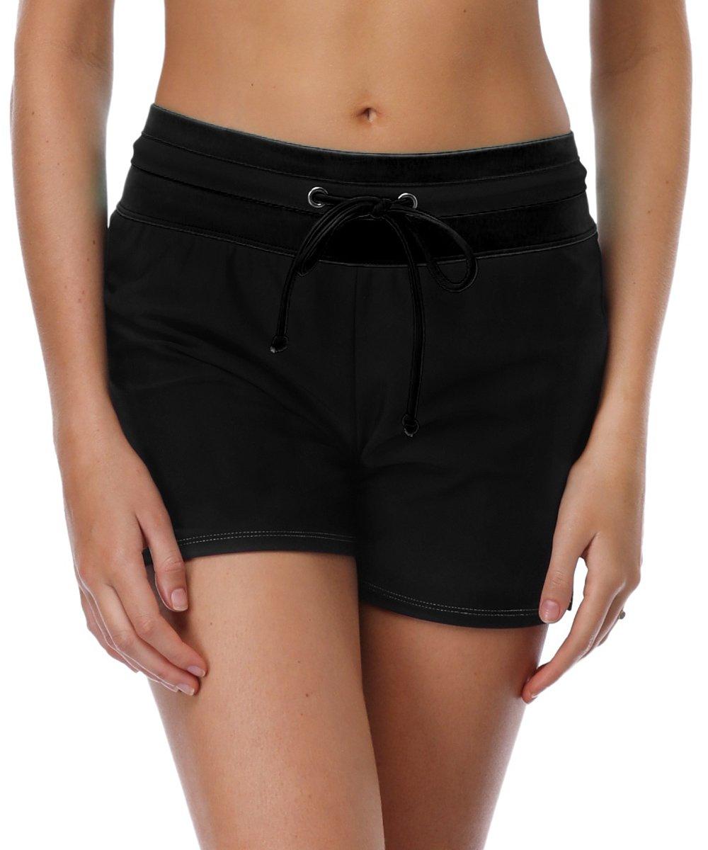 V for City Womens Bathing Suit Bottom Shorts Swim Boardshort Waistband Swimsuit Bottom High Waisted Black 2XL