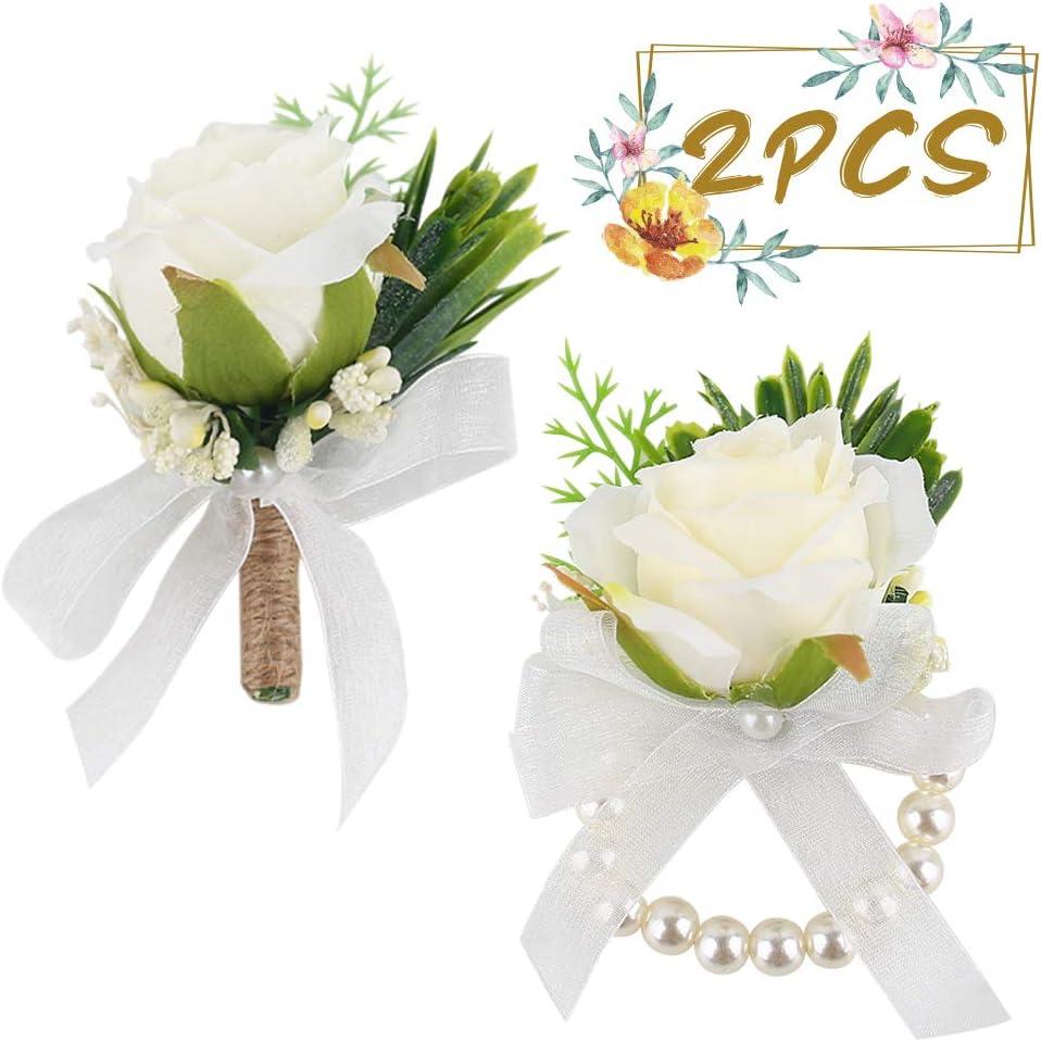 JOHOUSE 2Pcs Rose Wrist Corsage Wristlet Band Bracelet and Men Boutonniere Set,Groom Groomsman Best Man and Girl Brides Wedding Flowers Accessories Prom Suit Decoration,White