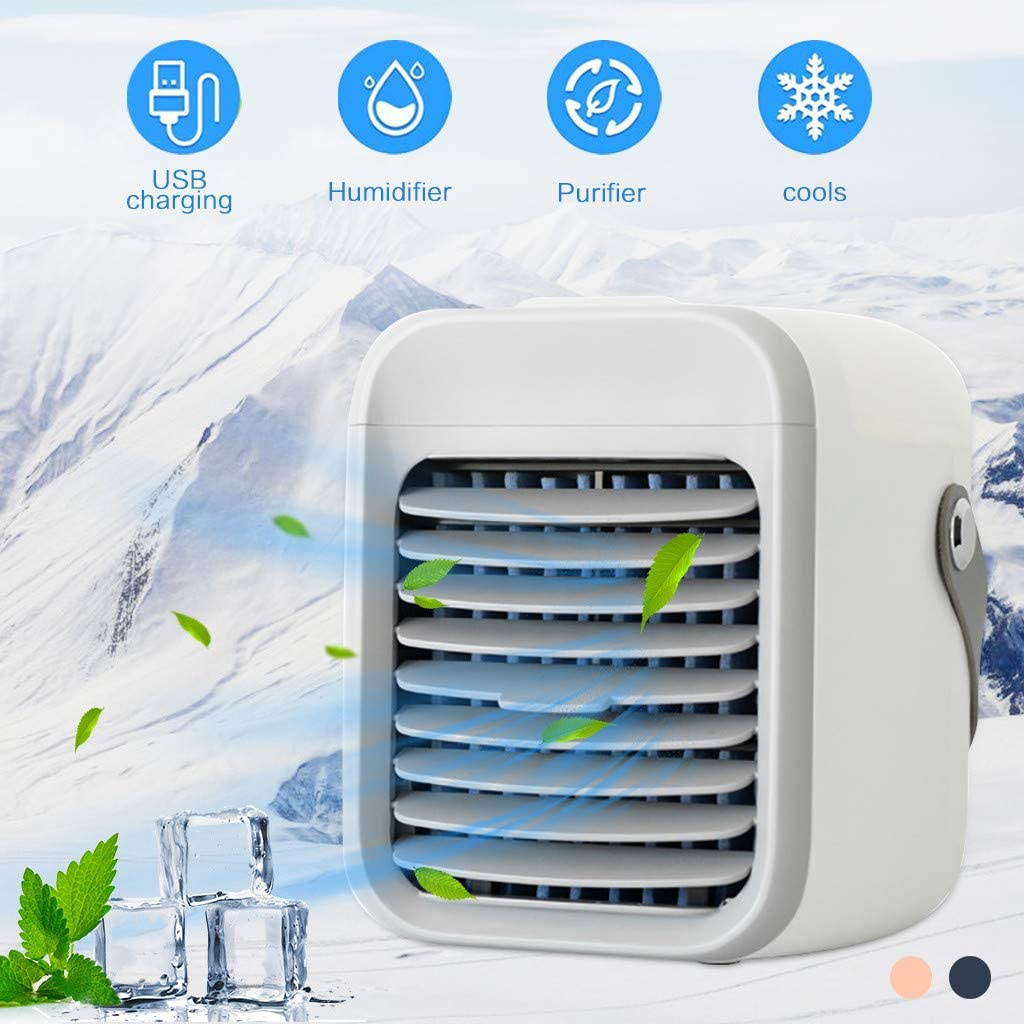 Portable Air Conditioner Mini, Rapid Cooling in Just 30 Seconds Personal AC,2020 Rrechargeable Water Cooled Air Conditioner with Handle,Cordless Air Cooler with 3 Speeds 7 Colors LED Light (White)