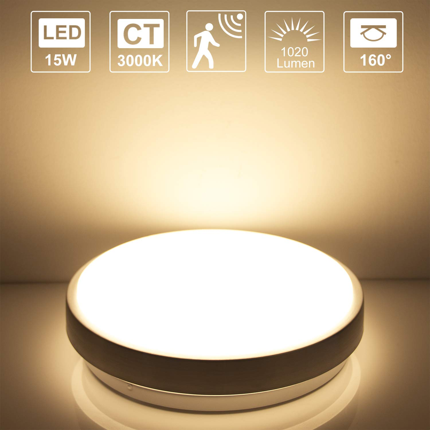 Lineway Ceiling Light With Motion Sensor 15w Ip44 3000k Warm White Activated Led Dice Radar Sensing Flush