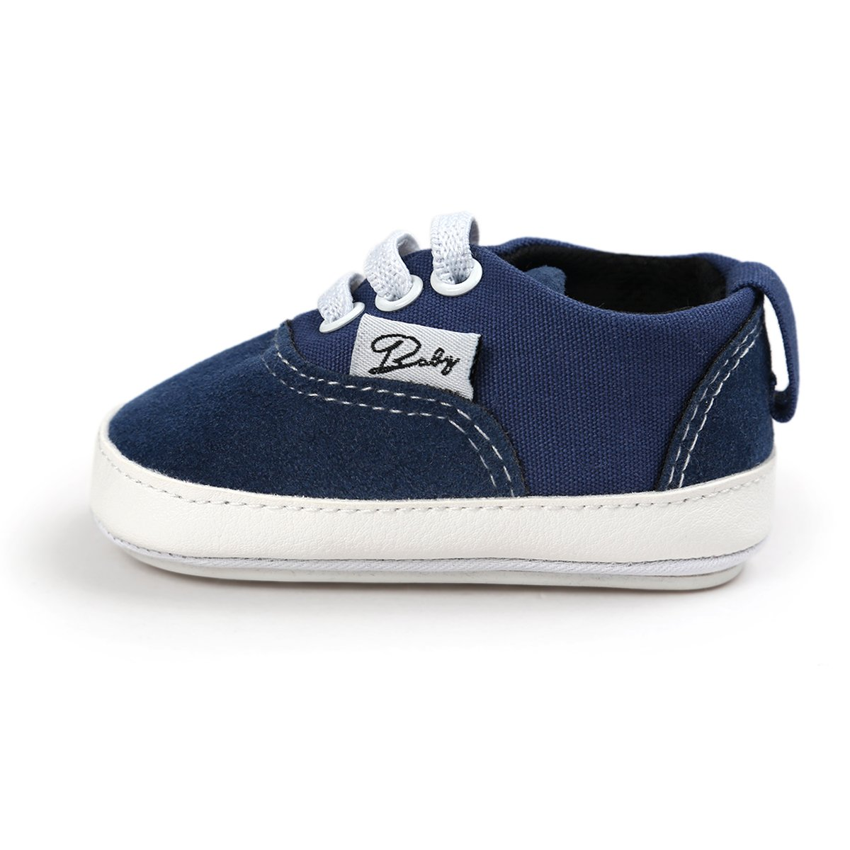 Itaar Baby Canvas Sneakers Non-slip Rubber Sole Slip-on Shoes with Elastic Lace for Infant Toddler Boys and Girls First Walking