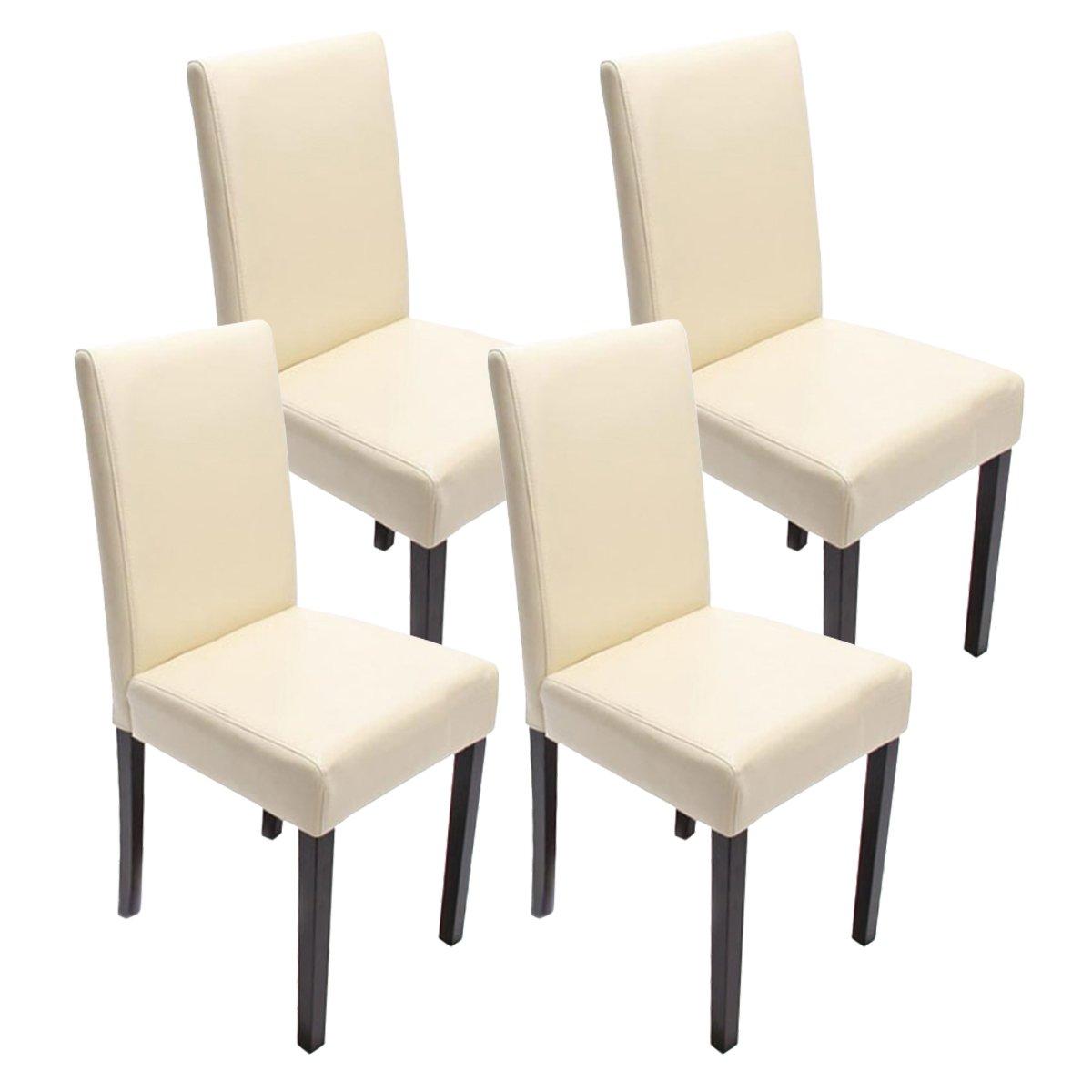 Set 6x sedie Littau pelle per sala da pranzo 43x56x90cm ~ avorio ...