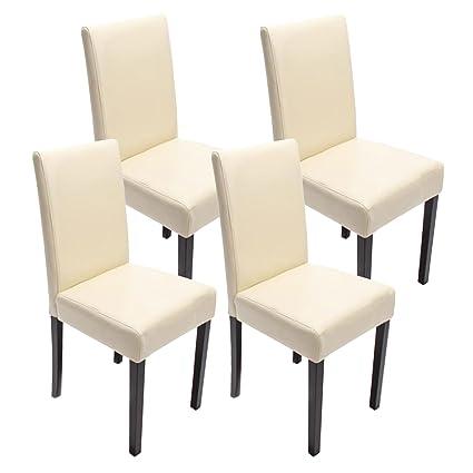Set 4x sedie Littau ecopelle per sala da pranzo 43x48x90cm ~ avorio ...