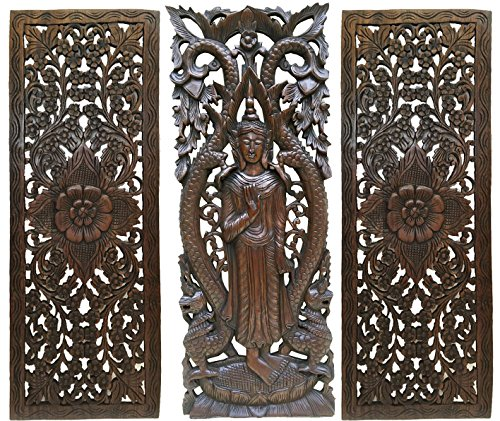 "- Standing Buddha and Floral Carved Wood Wall Decor Panels. Asian Home Decor in Dark Brown Finish 35.5""x13.5"