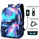 Anime Luminous Backpack Noctilucent School Bags Daypack USB chargeing port Laptop Bag Handbag For Boys Girls Men Women (Evil Eye 3)