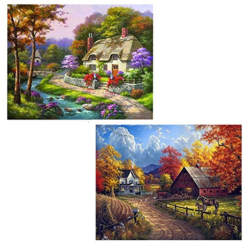 2 Pack 5D Full Drill Diamond Painting Village Farm Country Cottage, Buytra DIY Diamond Rhinestone Embroidery Cross Stitch Painting by Number Kits for Home Wall Decoration(Frame NOT Included)