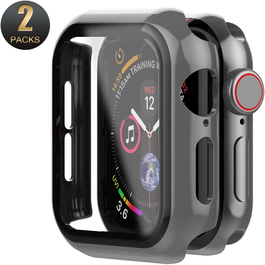 Mostof [2 Pack] Compatible for iWatch Series 3 2 1 Case 42mm with Tempered Glass Screen Protector, Ultra Thin Shock-Proof Hard Bumper Full Coverage Cover Replacement with Watch 3 2 1, Black
