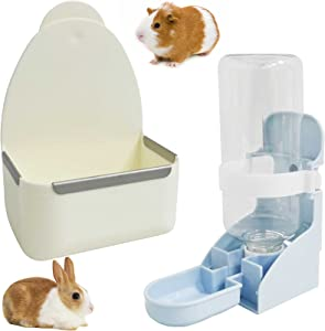 kathson Rabbit Food Bowl and Water Bottle Hanging Water Automatic Dispenser Small Animal Hay Dish Plastic Cage Feeder for Bunny Guinea Pig Chinchilla Hamster Hedgehog Ferret 2PCS (White)