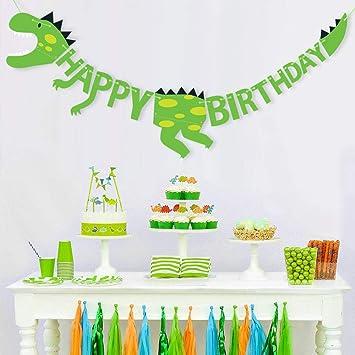 Decoración de Cumpleaños Dinosaurios Feliz Cumpleaños ...