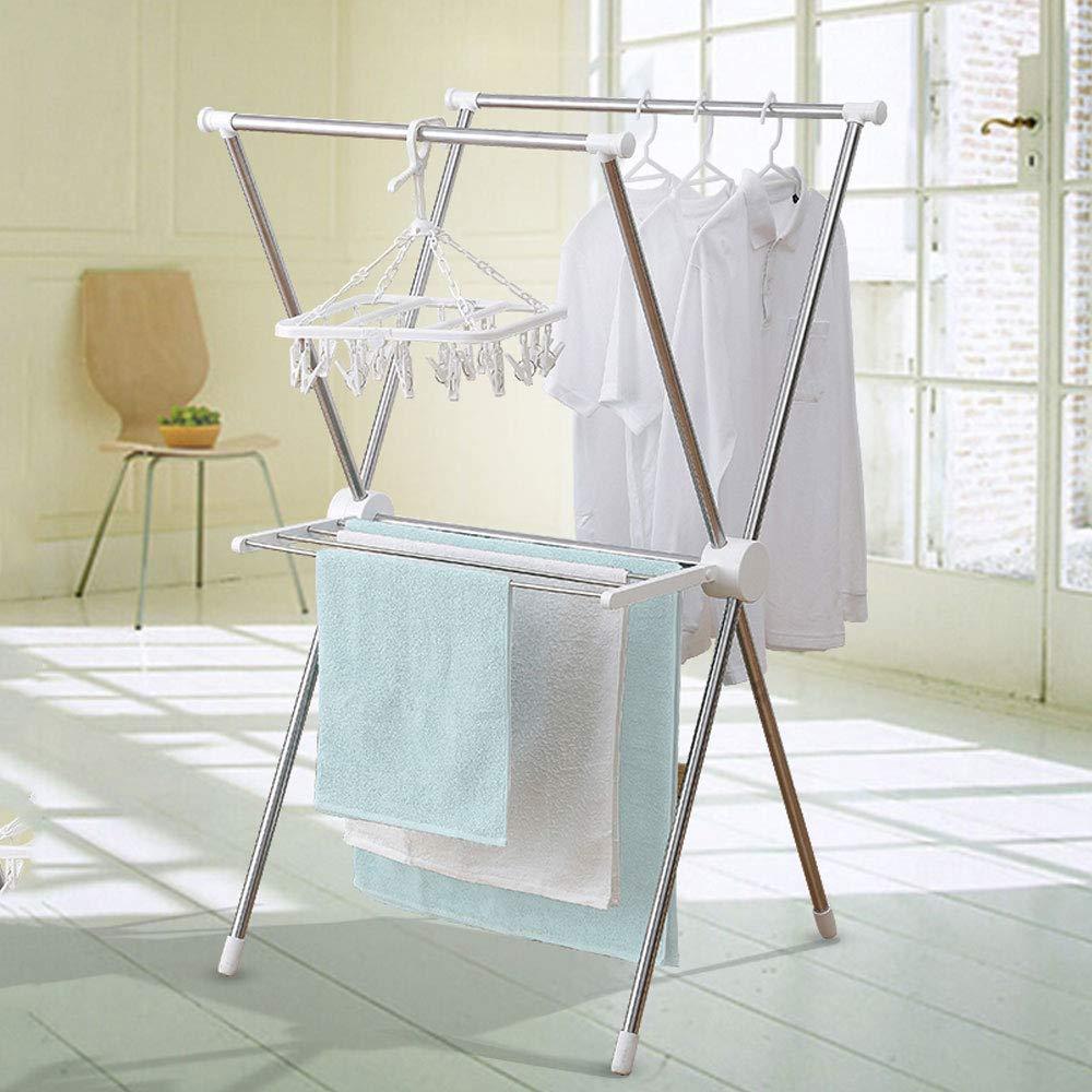 JIE KE 乾燥ラック、折り畳み式衣服乾燥ラック屋内と屋外の多機能ダブルポール床乾燥ラック B07Q5XDZW5