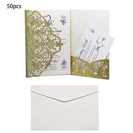 Brucelin 50pcs Cartes Invitation De Mariage Avec Enveloppes