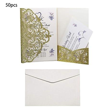 Brucelin - 50 tarjetas de invitación de boda con sobres ...