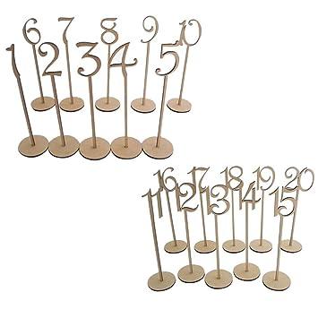 OULII 1-20 números de mesa de madera con Base de soporte para la decoración del partido casa de boda boda aniversario, paquete de 20 (Color madera)