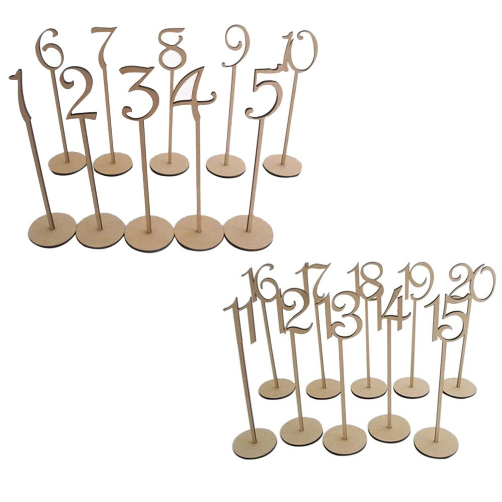 UEETEK 1-30 Wooden Table Numbers with Holder Base for Wedding or Home Decoration(A pack of 30pcs)