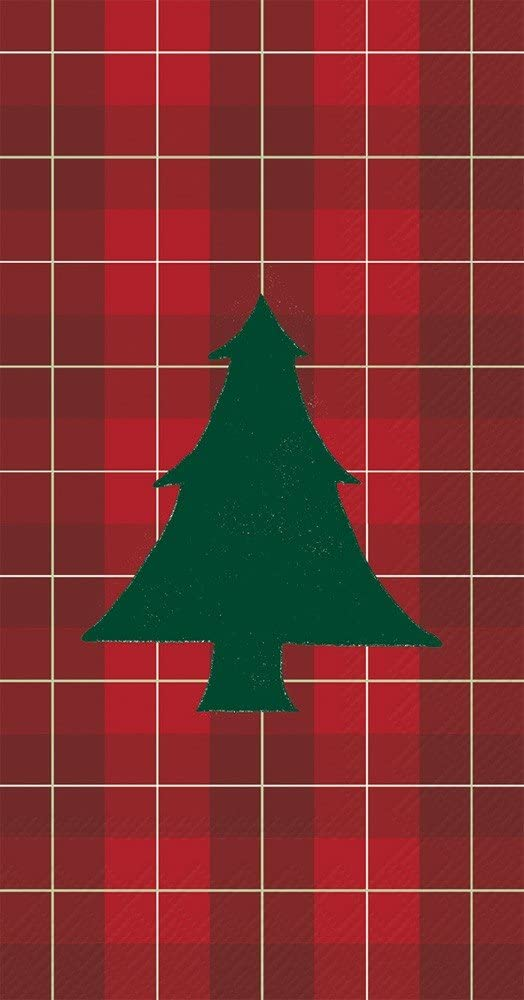 Ideal Home Range 16 Count Paper Guest Towel Napkins, Mad for Plaid Tree
