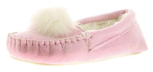 NUEVO niña / infantil rosa MOCASIN Estilo Zapatillas con pompones - rosa pastel - GB Tallas 1-13 - Rosa Claro, 31.5 EU: Amazon.es: Zapatos y complementos