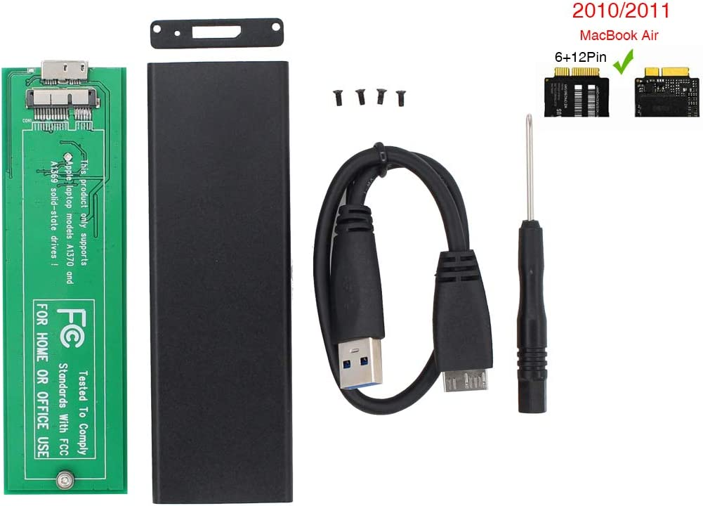 PCIE SSD Enclosure External HDD Hard Drive Disk USB 3.0 Reader Adapter with Case for MacBook Air 2010 2011 Version A1639 A1370 MC503 MC504 MC965 MC966 MC505 MC506 MC968 MC969