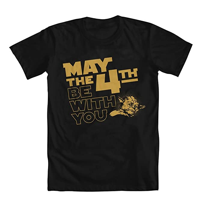 ef9745e89 Amazon.com: GEEK TEEZ Star Wars May The 4th Be with You Yoda Men's T ...