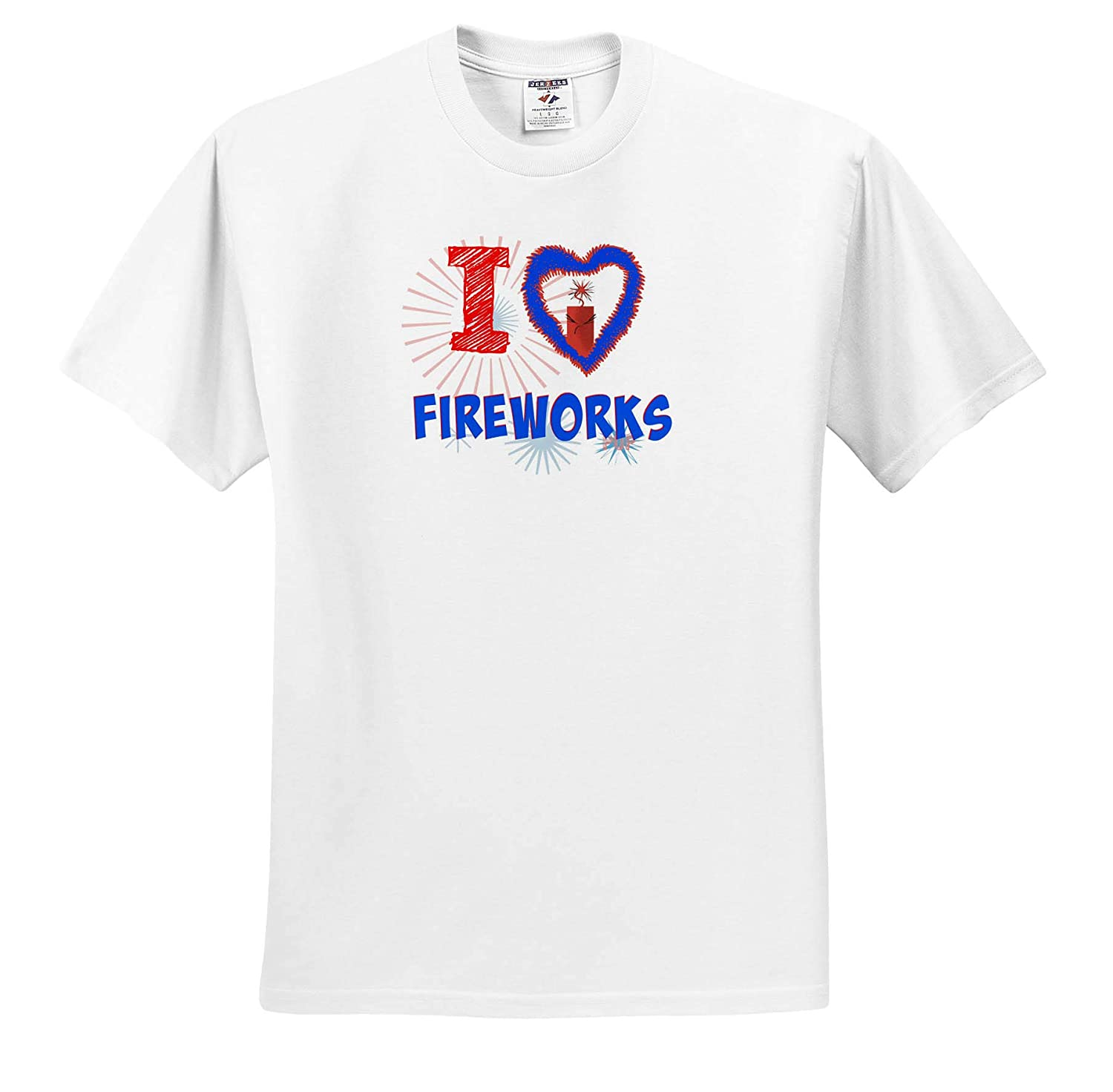 ts/_317424 3dRose Carrie Merchant Image Quote Adult T-Shirt XL Image of I Love Fireworks
