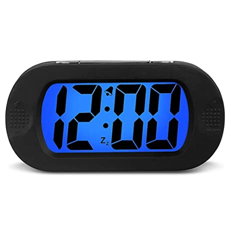 lcd large screen modern digital clock five minute snooze function and travel ultra mute alarm
