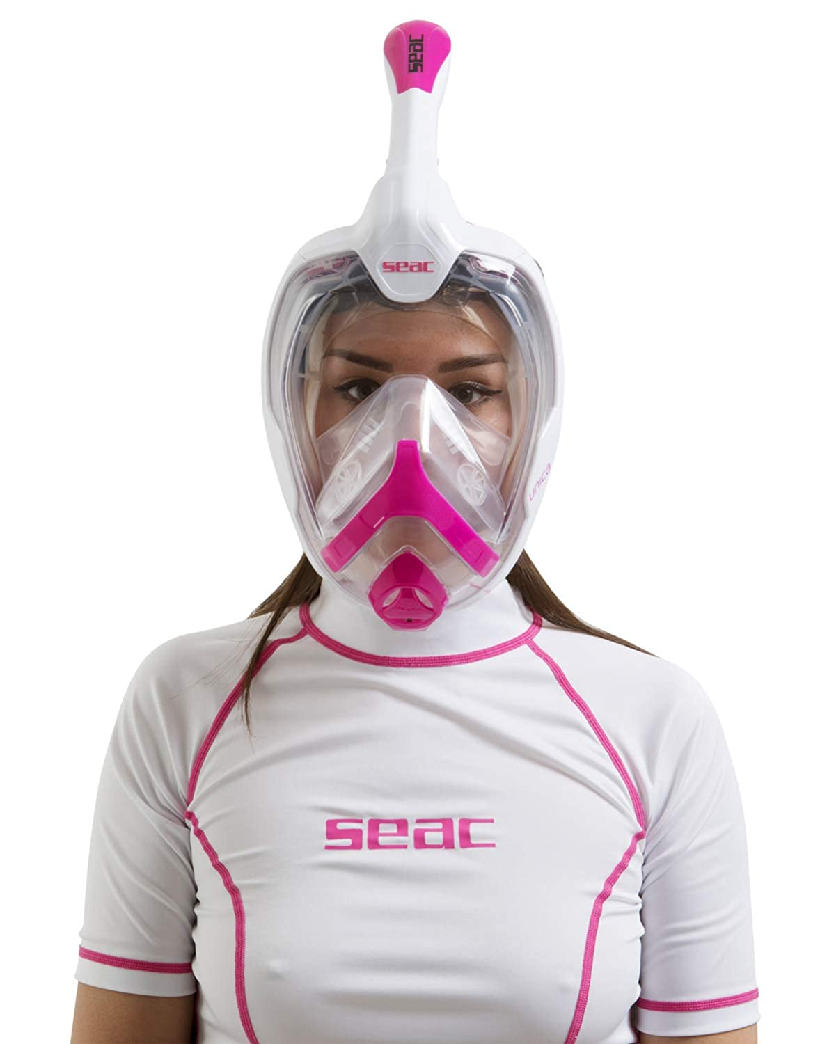 SEAC Unica Italian Design Snorkeling 180/° Panoramic View Full Face Snorkel Mask with Dry Snorkel Top White Pink MD FIT