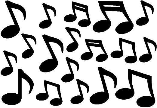 Samunshi Musiknoten Aufkleber Musik 18 Stück 12xca 5cm 6xca 7 5cm Schwarz Auto