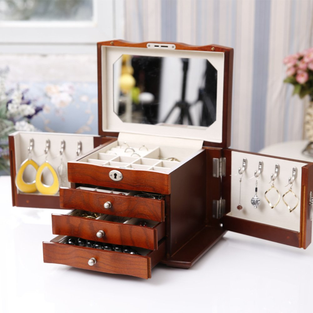 WODESHIJIE Wood Modern Chinese Wedding Red/White/Brown Jewelry Boxes-D