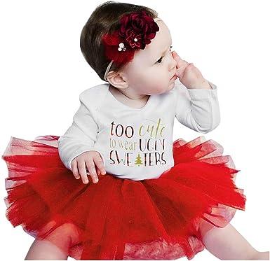 Tenue Noel Fille yuyuanDO 3PCS Costume Noel Bebe Fille Robe Noel Bebe Fille 6 12 18