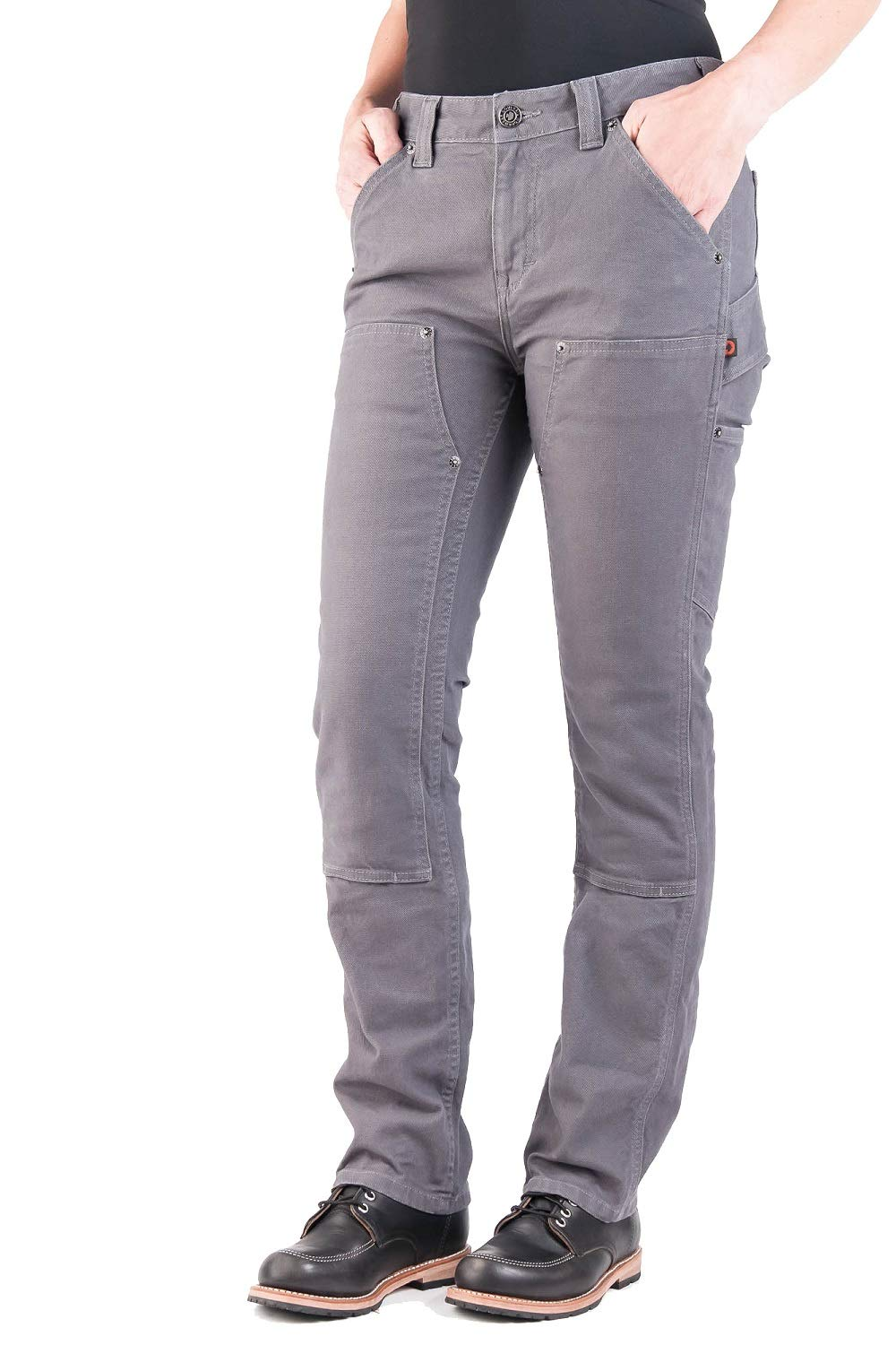 """Dovetail Workwear Utility Pants for Women - Maven Slim Fit Stretch Cargo Pant Dark Grey Canvas Size 14 28"""" Length"""