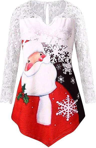 K-youth Blusas para Mujer Elegantes con Encaje Estampado Santa Claus Navidad Sexy Cuello v Camisetas de Manga Larga Mujer Tumblr Top: Amazon.es: Ropa y accesorios