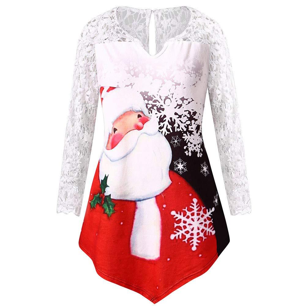 AMUSTER Damen Weihnachtsmann Drucken Langarm Spitze Shirt Cute Hemd Mantel Weihnachtspullover Fashion Pulli Warme Elegante T-Shirt