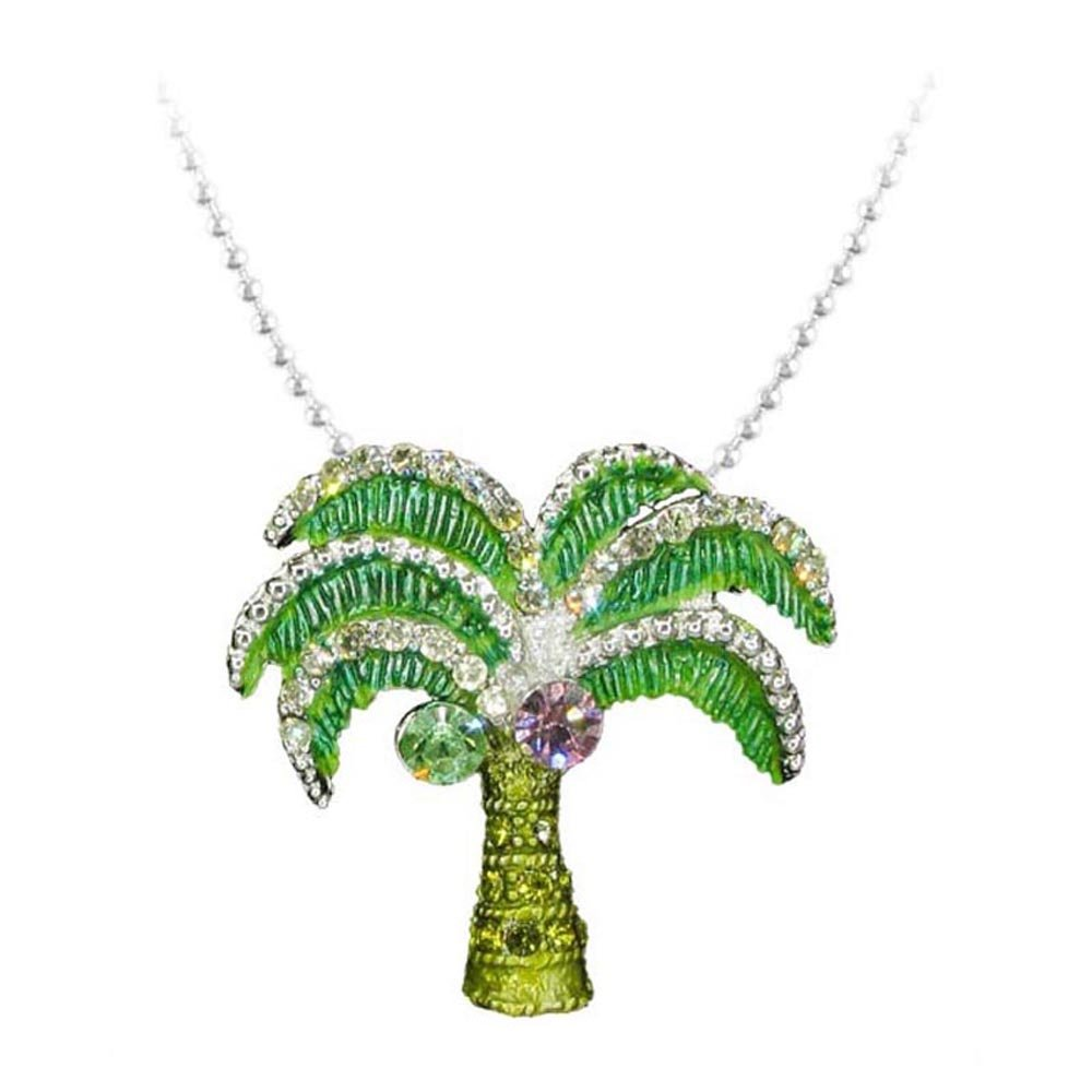 Palm Tree Necklace (Dainty Hand Painted Silver Plated Crystal Tree Pendant Necklace Beach Summer Ocean Jewelry RSN2265-GR)