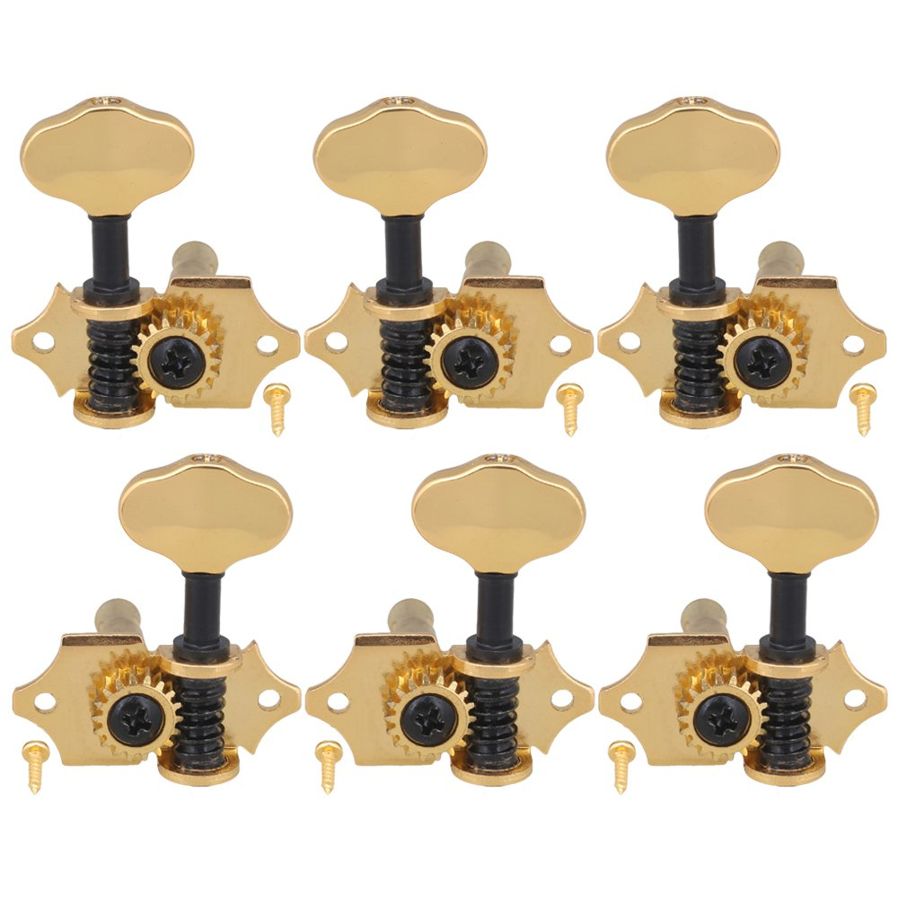 Yibuy Zinc Alloy Golden Open Style Guitar Machine Head Tuning Pegs Locking Tuners 3L 3R 18:1 for Folk Electric Guitar