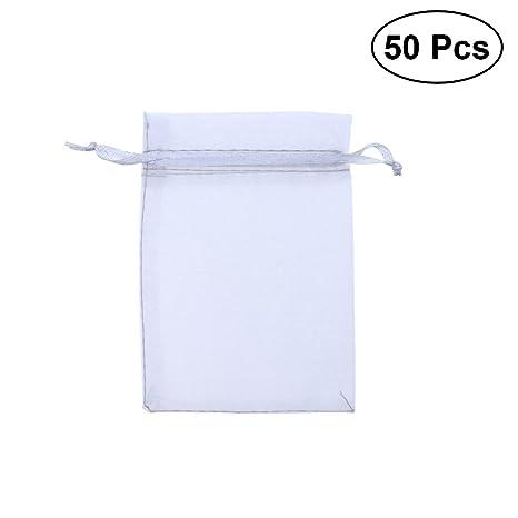 OUNONA 50 bolsas de organza de 9 x 12 cm con cordón para ...