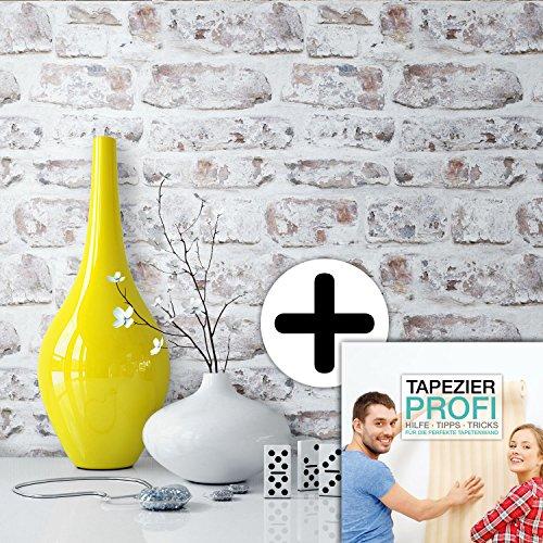 Steintapete in Weiß Natur | schöne rustikale Tapete im Design einer Steinmauer | moderne 3D Optik für Wohnzimmer, Schlafzimmer, Flur oder Küche | inklusive der Newroom-Tapezier-Profi-Broschüre, mit allen Hilfen, Tricks und Tipps, die Sie zum perfekten Tapezieren brauchen!
