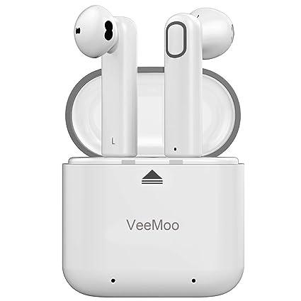 Auriculares Bluetooth, Veemoo Bluetooth 4.2 Estéreo Inalámbrico Mini Dual Caja de Carga Mic Deportes Sweatproof