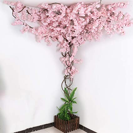 Yllsq Artificial Cherry Blossom Trees Pure White Cherry Blossom Tree Arch Pink Fake Sakura Flowers Indoor Outdoor Home 10ft 3m Amazon Co Uk Kitchen Home