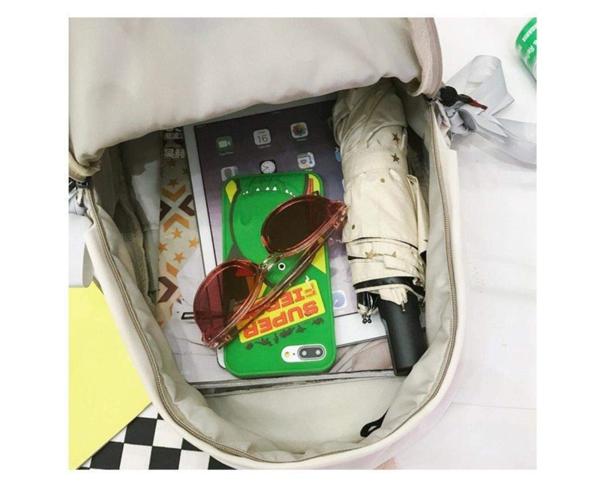 LHXS kvinnor ryggsäck stöldsäker ryggsäck skolväska för tonårsflickor kvinnlig axel hållbar Rosa Vitt
