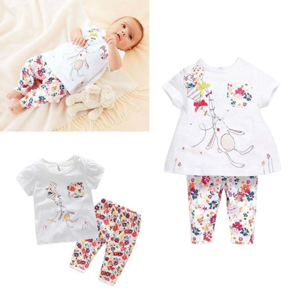 Fenleo Toddler Infant Baby Girls Catoon Print T-Shirt Tops+Floral Pants Outfit Set