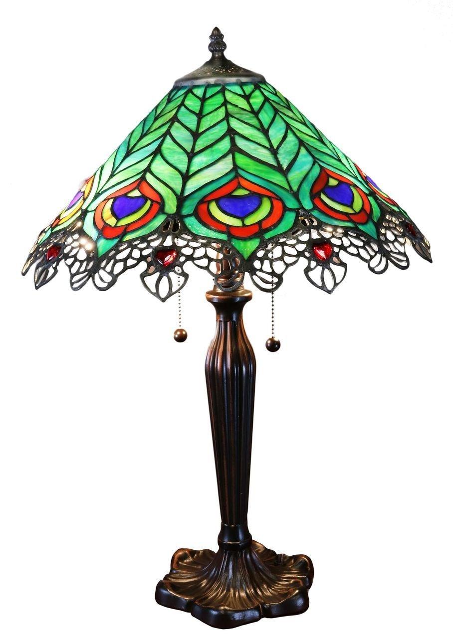 Warehouse of Tiffany Kamen Tiffany-style Peacock Lamp
