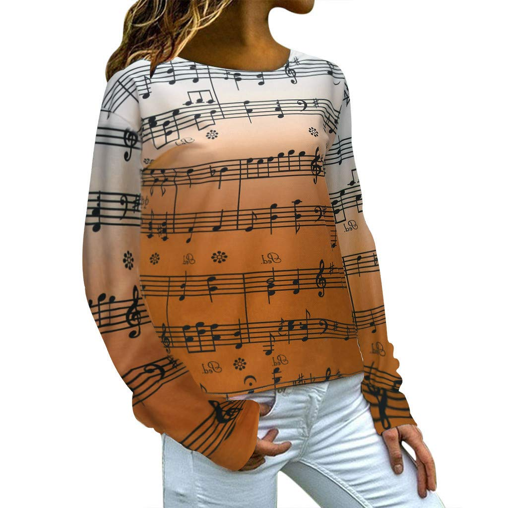 Futurelove Women Casual Hoodies Sweatshirt Tops Two Tone Music Note Print Drawstring Pullover Orange by ★ Futurelove ★
