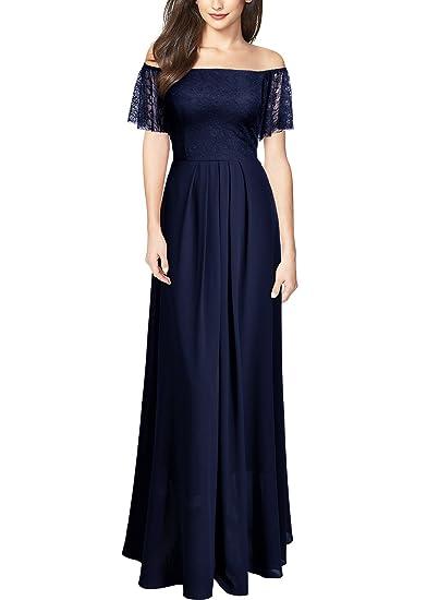 MIUSOL Elegante Pizzo Chiffon Vestito da Coctel Donna Lunghe  Amazon.it   Abbigliamento 707af41616f