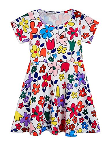 RAISEVERN Cute Print Sunmmer Clothes Colourful Flowers Vintage Dresses for Girls 6-7 Years